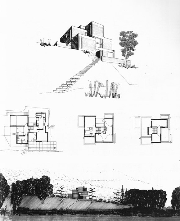 Perspectiva, planta y vista con contexto.House in te Chilterns, 1956. Stirling / Growan