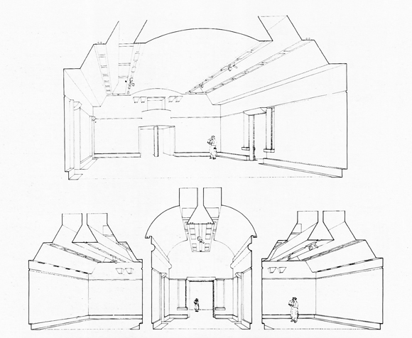 Vista perspectiva simultánea. Clore Gallery (Turner Museum) T.G, 1980-85Stirling / WIlford and associates