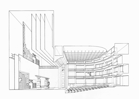 Sección longitudinal. Performing Arts Centre, Cornell University, 1982Stirling / Wilford and Wilke / Naegeli  and associates