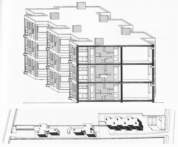 Vista fachada-sección. Perspectiva caballera. Ham Common Flats, 1955-58. Stirlnig / Gowan