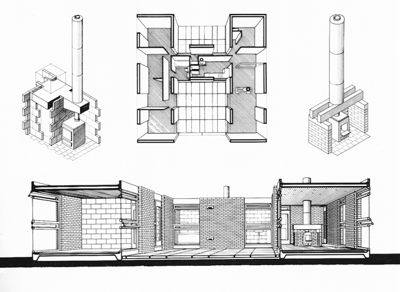 Perspectiva aérea, axonometría y sección perspectiva. Isle of Wight House, 1956-58. Stirling / Gowan