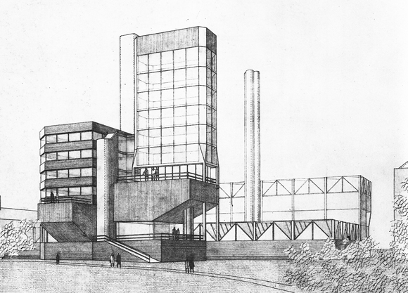 Dibujo a lápiz. Leicester University Engineering Building, 1959-63Stirling / Gowan and Wilford / Higgs