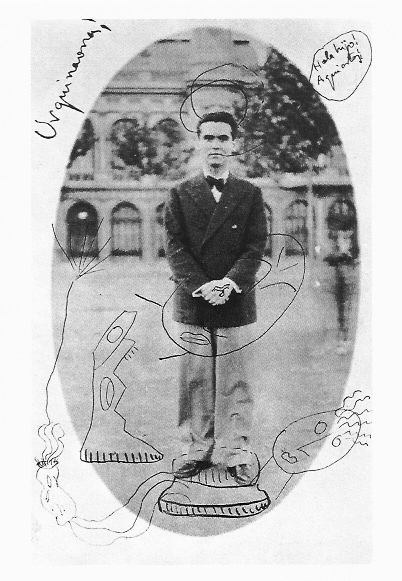 GARCIA LORCA Fotografía sobredibujada de Federico García Lorca 1927